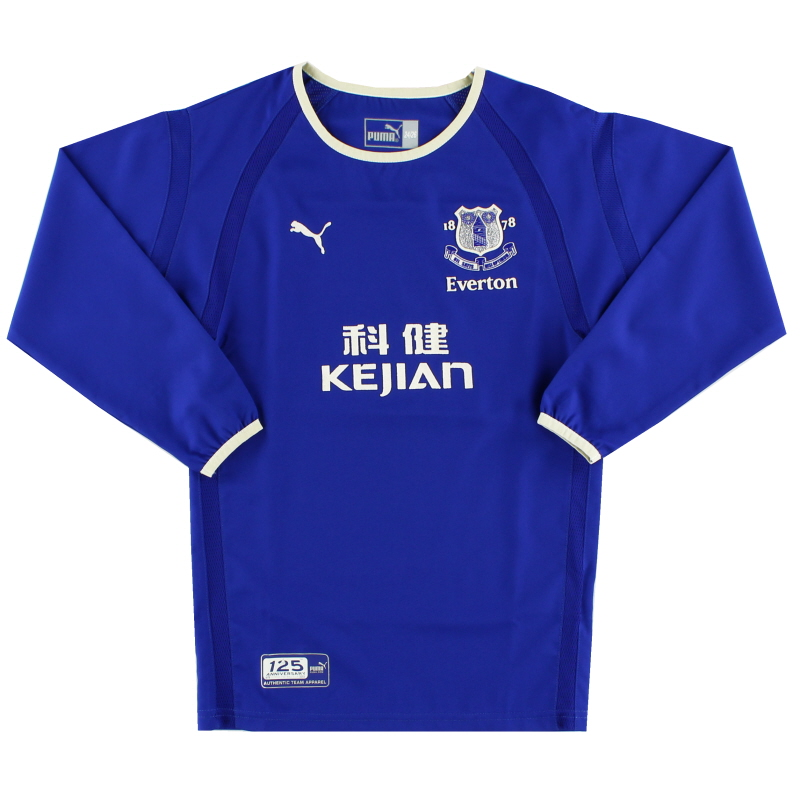 2003-04 Everton Home Shirt L/S Y