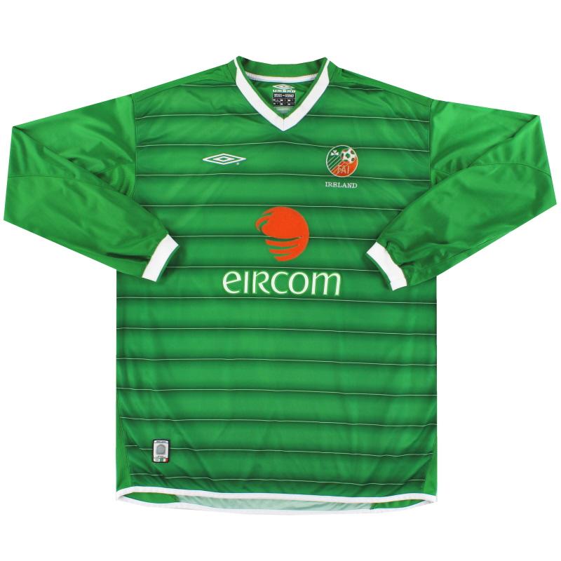 2003-04 Ireland Umbro Home Shirt L/S M