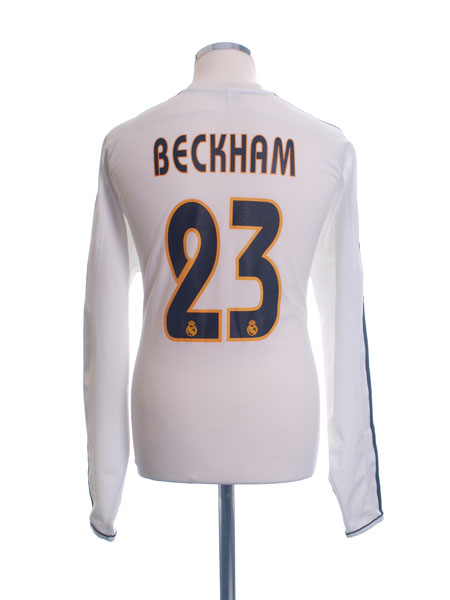 2003-04 Real Madrid Champions League Home Shirt Beckham #23 L/S L