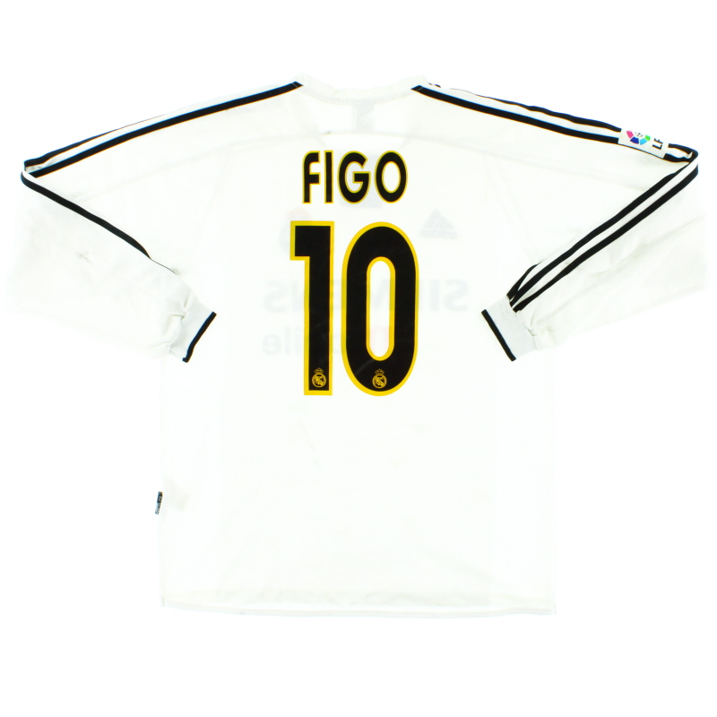 2003-04 Real Madrid Home Shirt Figo #10 L/S XL