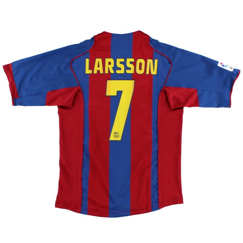 2004-05 Barcelona Home Shirt Larsson #7 L