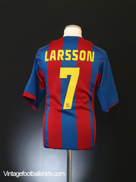 2004-05 Barcelona Home Shirt Larsson #7 *Mint* L