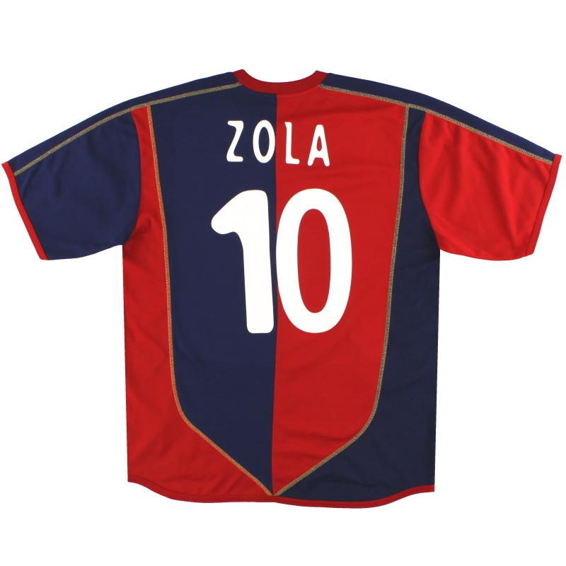 2004-05 Cagliari Home Shirt Zola #10 XL