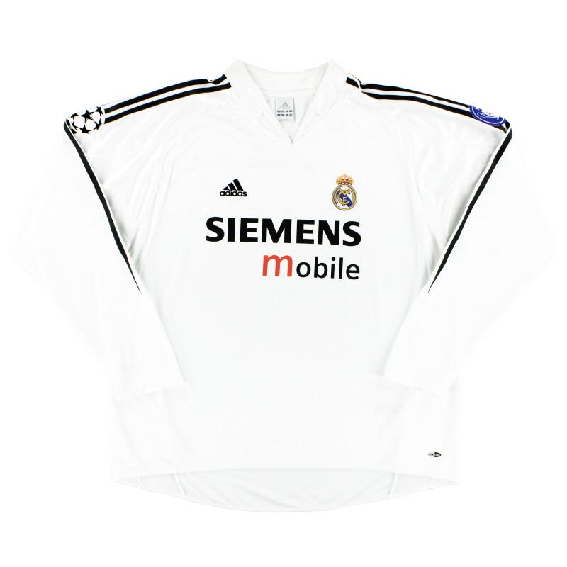 2004-05 Real Madrid CL Home Shirt L/S *Mint* XXL