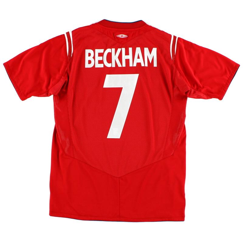 2004-06 England Away Shirt Beckham #7 S