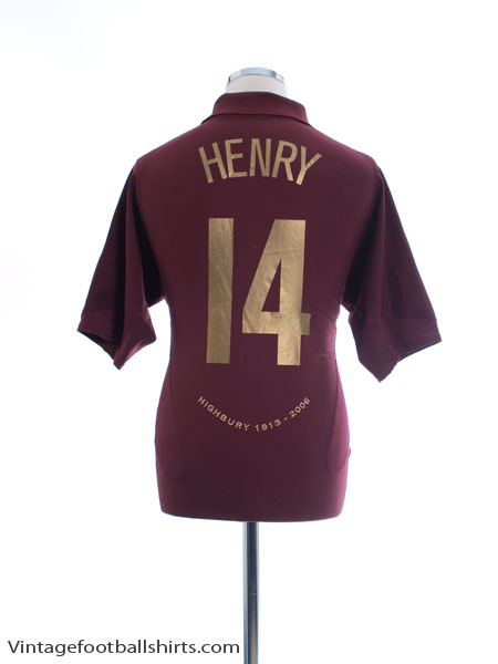 2005-06 Arsenal Highbury CL Home Shirt Henry #14 M - 195578