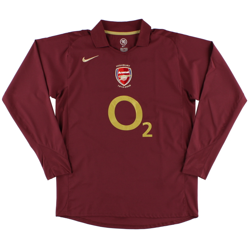 2005-06 Arsenal Highbury Home Shirt L/S L