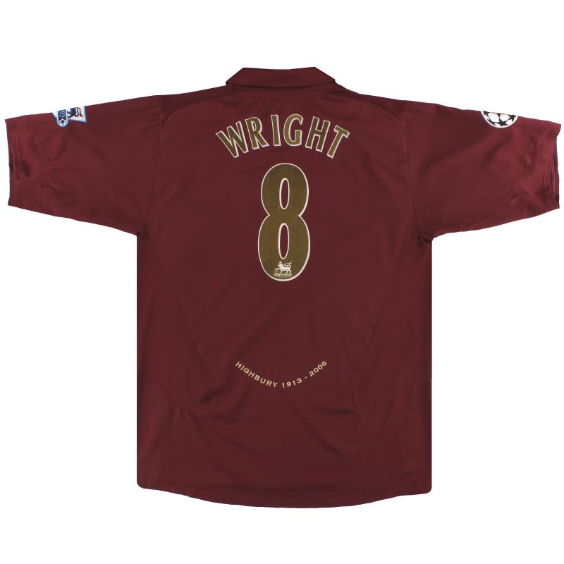 2005-06 Arsenal Nike Commemorative Highbury Home Shirt Wright #8 XL - 195578