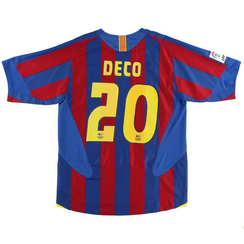 2005-06 Barcelona Home Shirt Deco #20 M
