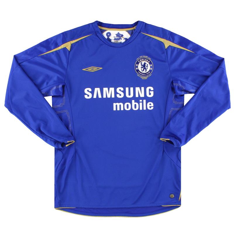 2005-06 Chelsea Umbro Centenary Home Shirt L/S M - 08169375