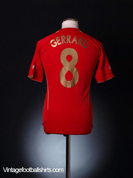 2005-06 Liverpool Champions League Home Shirt Gerrard #8 XS