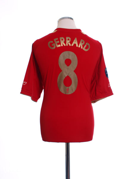 2005-06 Liverpool CL Home Shirt Gerrard #8 XS