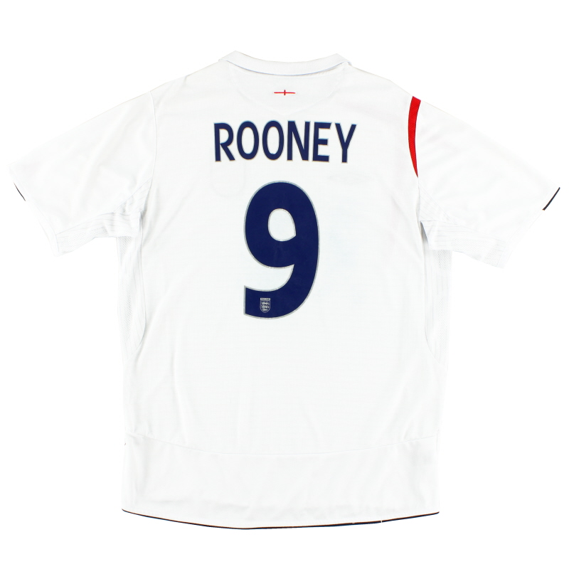 2005-07 England Home Shirt Rooney #9 S