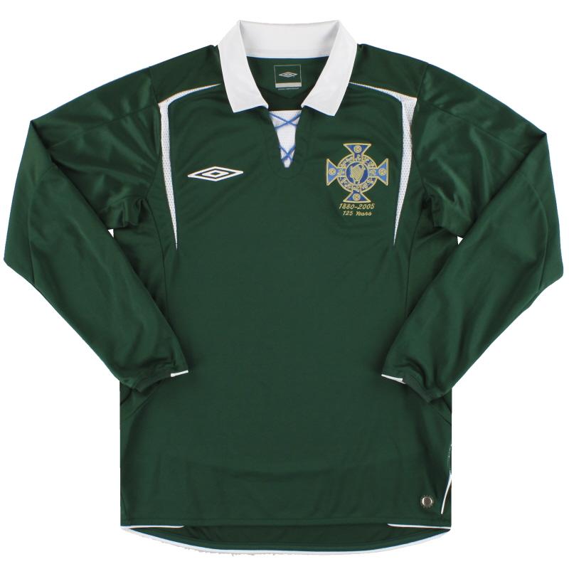 2005 Northern Ireland Umbro '125 Years' Shirt L/S *Mint* S