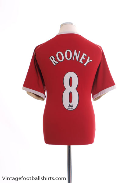 2006-07 Manchester United Home Shirt Rooney #8 XL