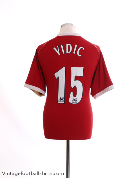 2006-07 Manchester United Home Shirt Vidic #15 L