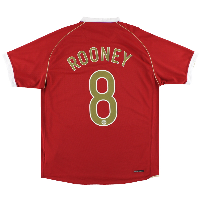 2006-07 Manchester United Nike Home Shirt Rooney #8 L - 146814