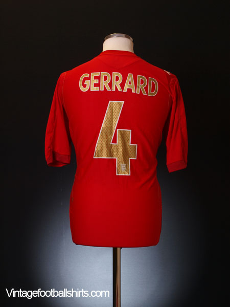 2006-08 England Away Shirt Gerrard #4 XL