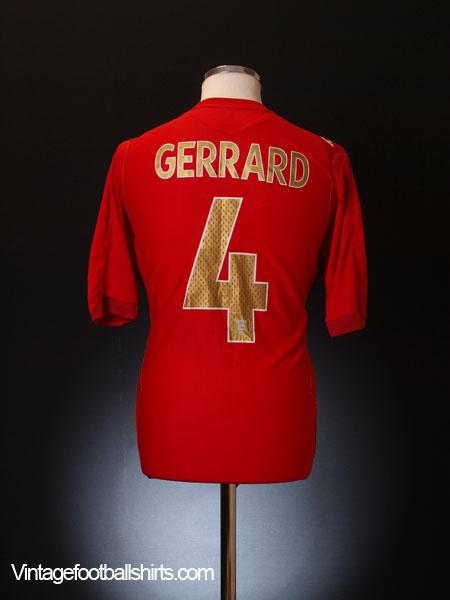 2006-08 England Away Shirt Gerrard #4 M