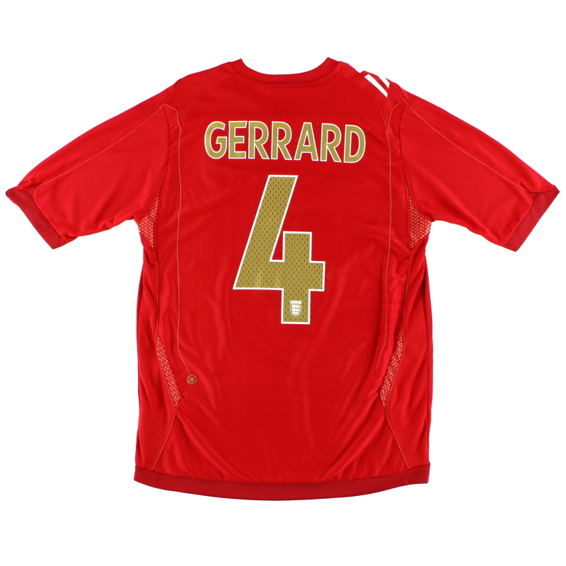 2006-08 England Away Shirt Gerrard #4 L.Boys