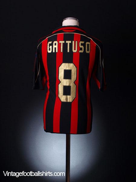 2007-08 AC Milan Serie A Match Issue Home Shirt Gattuso #8