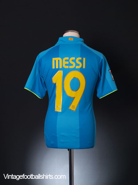 2007-08 Barcelona Away Shirt Messi #19 S