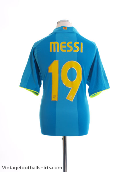 2007-08 Barcelona Away Shirt Messi #19 *Mint* L