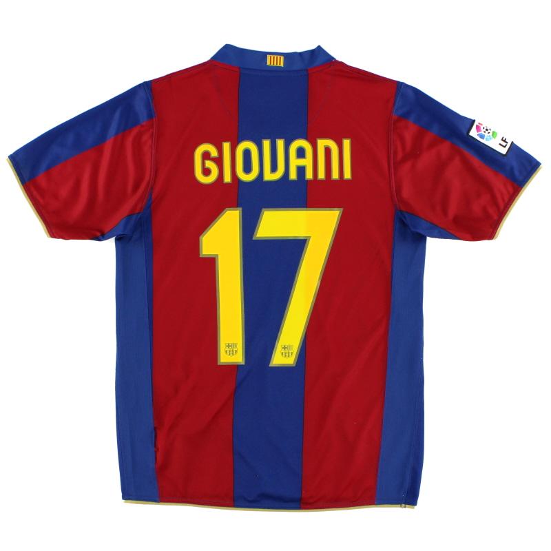 2007-08 Barcelona Home Shirt Giovani #17 S