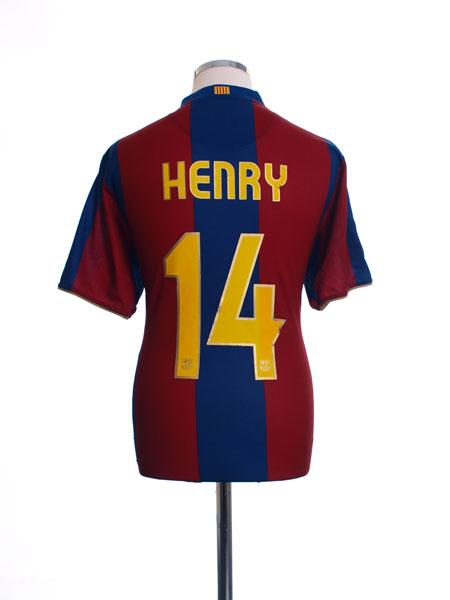 2007-08 Barcelona Home Shirt Henry #14 M - 237741-655