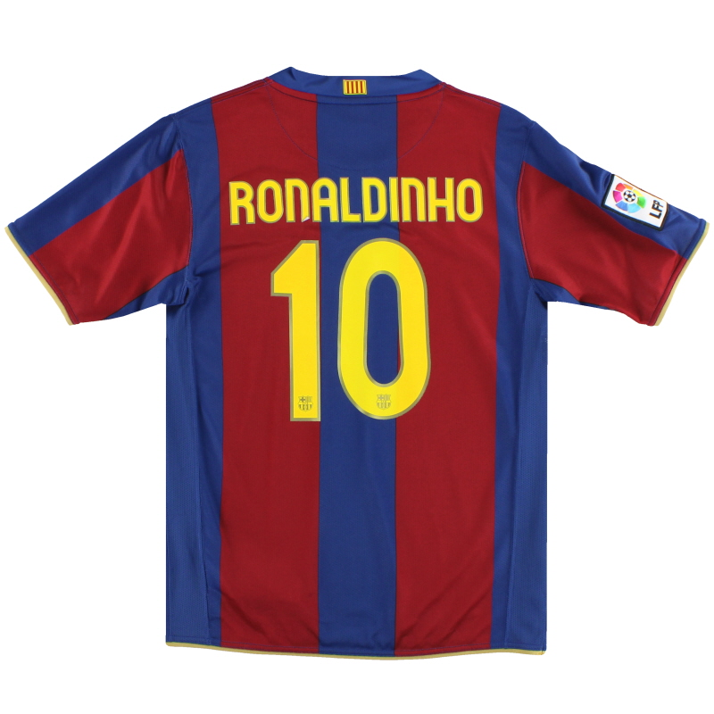 2007-08 Barcelona Nike Home Shirt Ronaldinho #10 L.Boys - 237759-655