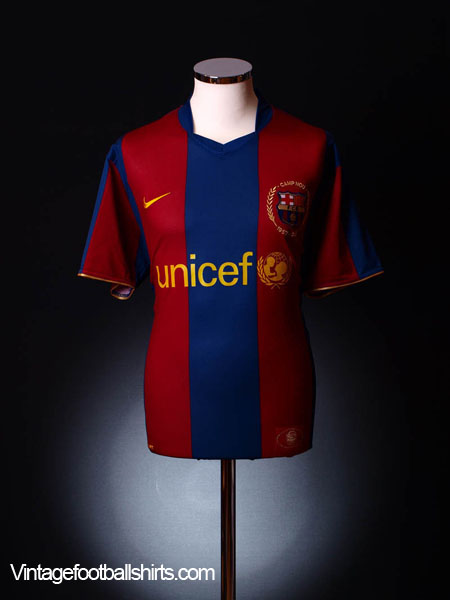 2007-08 Barcelona Home Shirt S.Boys