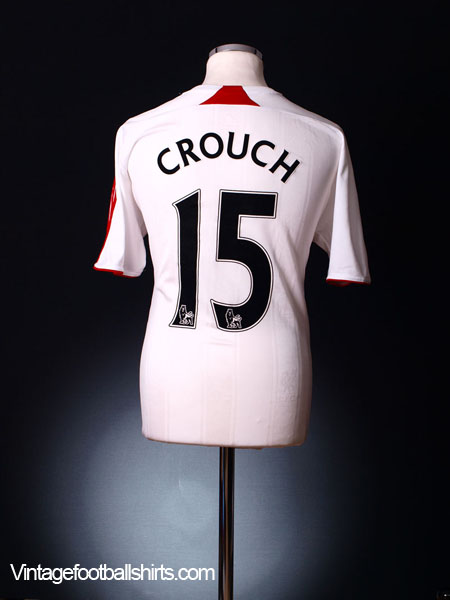 2007-08 Liverpool Away Shirt Crouch #15 XL