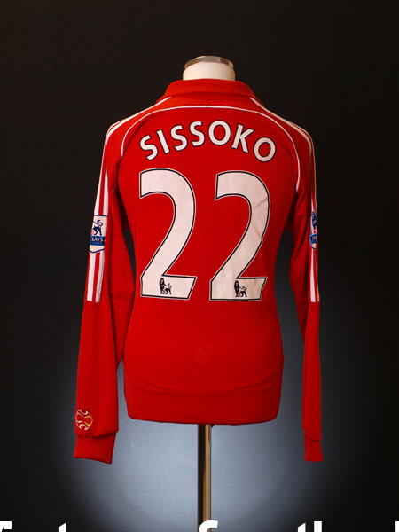 2007-08 Liverpool Match Issue Home Shirt Sissoko #22 L/S