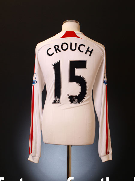 2007-08 Liverpool Match Worn Away Shirt Crouch #15 L/S