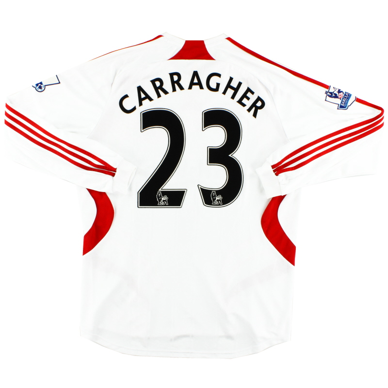 2007-08 Liverpool Match Worn Away Shirt Carragher #23 L/S