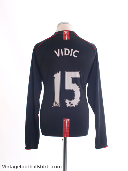 2007-08 Manchester United Away Shirt Vidic #15 L/S XL