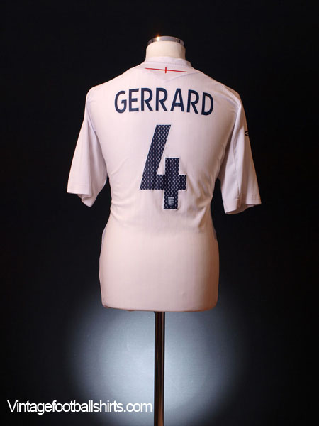 2007-09 England Home Shirt Gerrard #4 XL