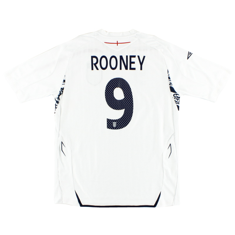 2007-09 England Home Shirt Rooney #9 L