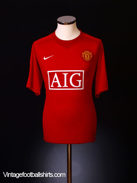 2007-09 Manchester United Home Shirt L.Boys