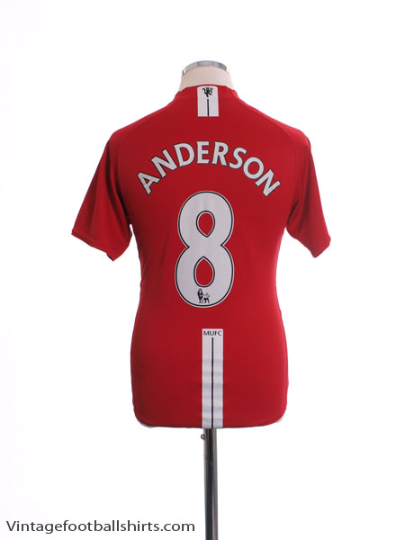 2007-09 Manchester United Home Shirt Anderson #8 S
