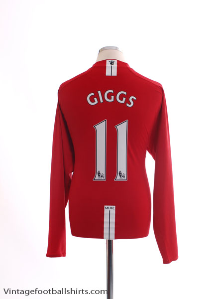2007-09 Manchester United Home Shirt Giggs #11 L/S XL