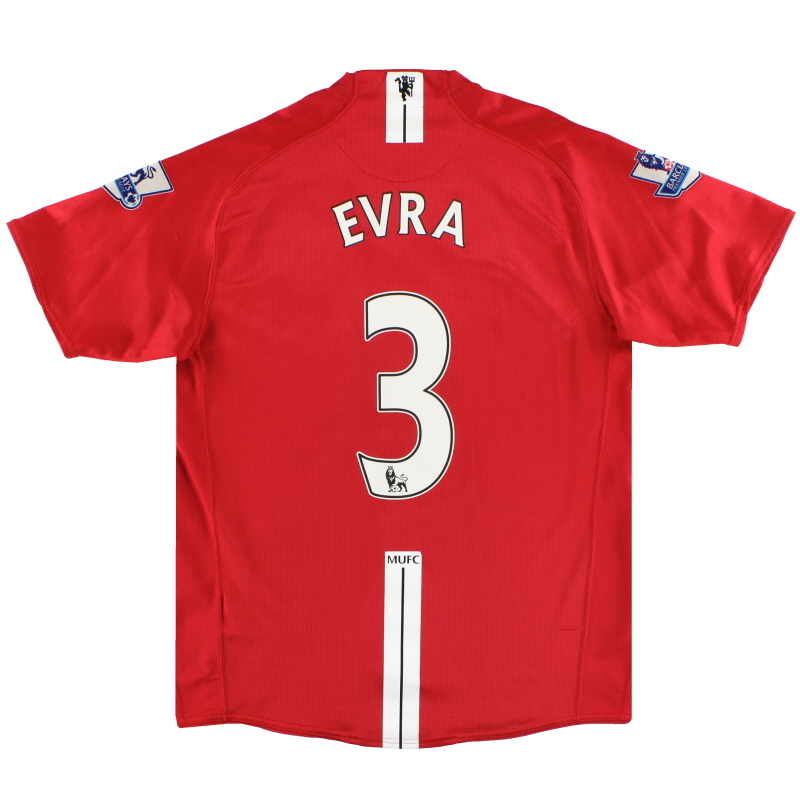 2007-09 Manchester United Nike Home Shirt Evra #3 M - 237924-666