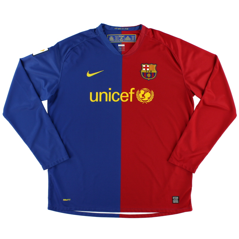 2008-09 Barcelona Home Shirt L/S XL