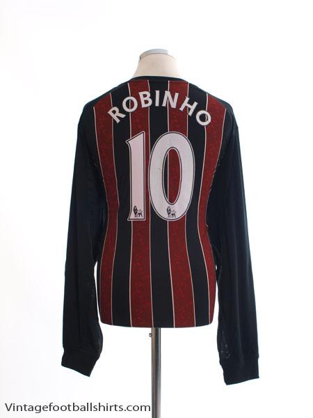 2008-09 Manchester City Away Shirt Robinho #10 L/S XL