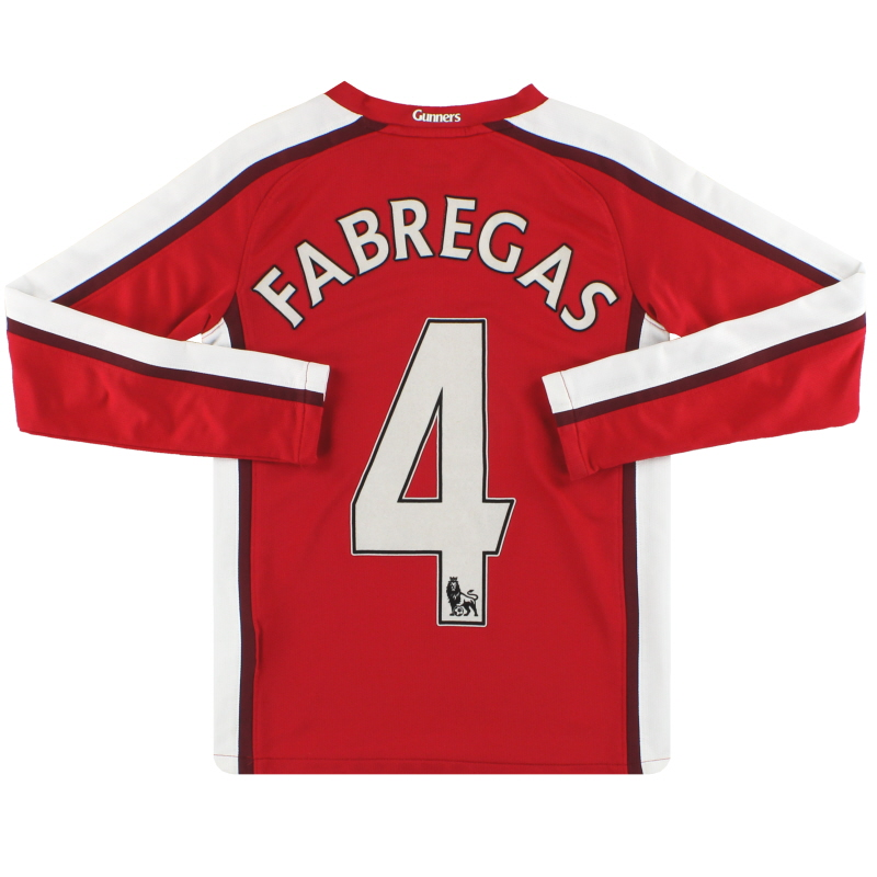 2008-10 Arsenal Nike Home Shirt Fabregas #4 L/S S.Boys - 322944-614