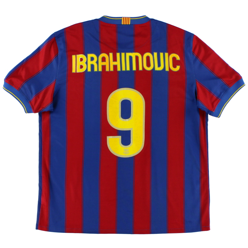 2009-10 Barcelona Home Shirt Ibrahimovic #9 XL - 343808-496