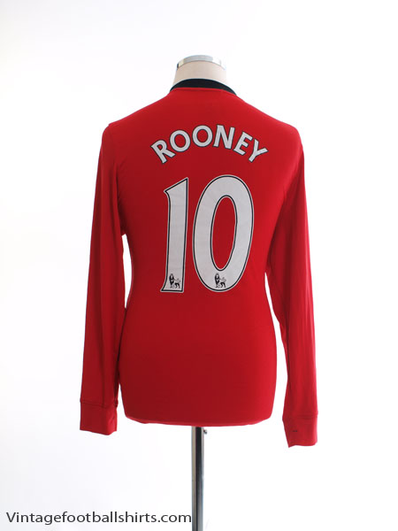 2009-10 Manchester United Home Shirt Rooney #10 L/S  M