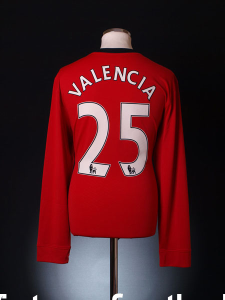 2009-10 Manchester United Player Issue Home Shirt Valencia #25 L/S XL