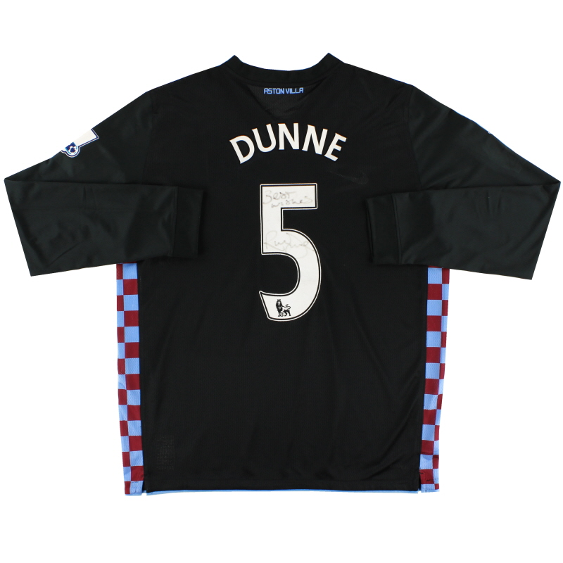 2010-11 Aston Villa Player Issue Away Signed Shirt L/S Dunne #5 XXL