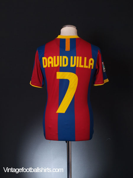 2010-11 Barcelona Home Shirt David Villa #7 S